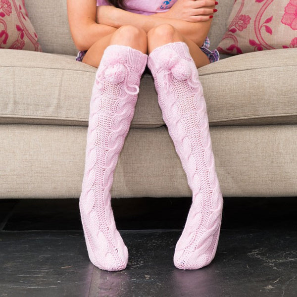 Angelina - Knitted Slipper Socks - Cream, Pink