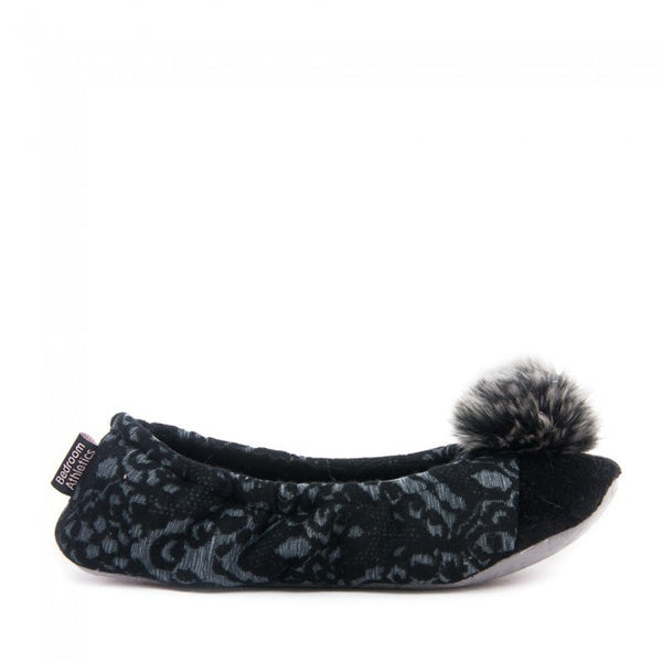 Vanessa - Lace Ballerina Slippers - Black