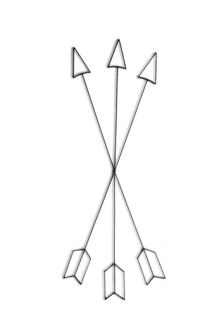 Front view of a Crossed Arrows metal wall art and decor