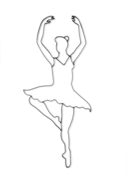 Front view of ballet dancer metal wall art and decor