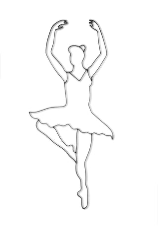 Front view of a ballet dancer metal wall art and decor
