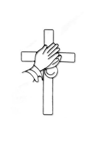 Metal Cross Wall Art and Decor, with praying hands