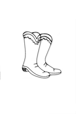 Front view of Cowboy Boots metal wall art and decor