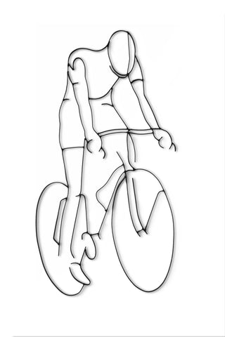 Front view of Bicyclist metal wall art and decor