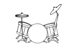 Front view of Drum Set metal wall art and music decor