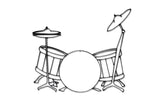 Front view of Drum Set metal wall art and decor