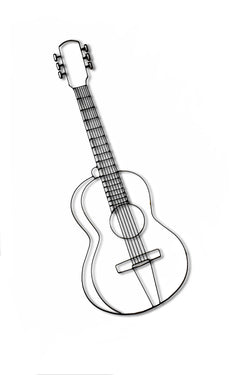 Front view of Guitar metal wall decor and sculpture