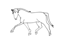 Front view of a Horse walking metal wall art and decor