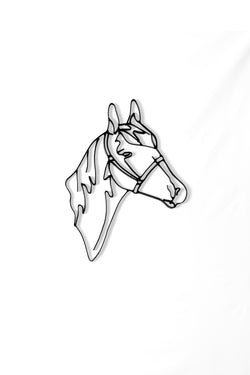 Front view of Horse Head metal wall art and decor