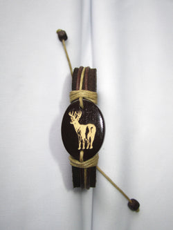 Deer Image Leather Bracelet