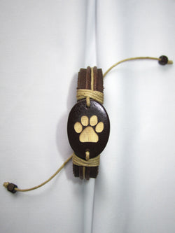Cat Paw Print Leather Bracelet
