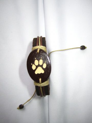 Dog Paw Print Leather Bracelet