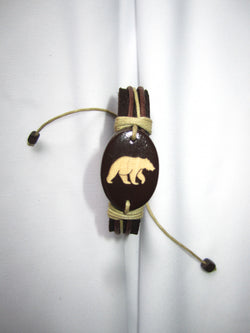 Bear Image Leather Bracelet