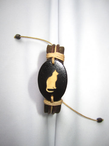 Cat Image Leather Bracelet