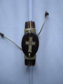 Celtic Cross Leather Bracelet