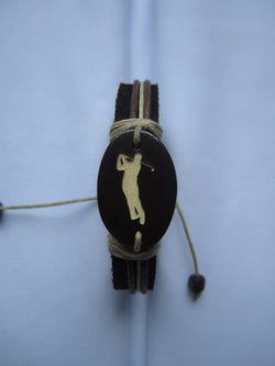 Golfer Image Leather Bracelet