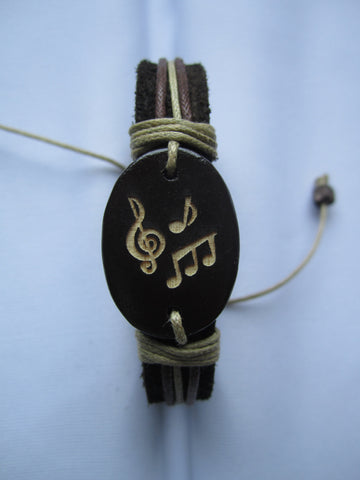 Musical Symbol Leather Bracelet