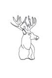 Front view of Deer Head metal wall art and decor