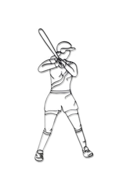 Front view of Softball player metal wall art and decor