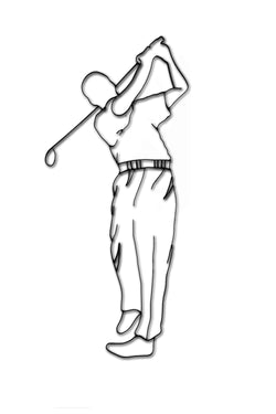 Front view of a male golfer metal wall art and decor