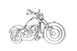 Front view of Motorcycle or Harley Davidson metal wall art and decor