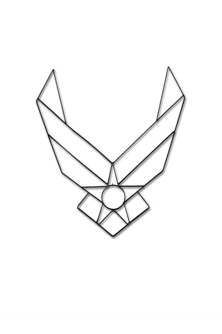 Front view image of Air Force symbol metal wall art and decor black color.