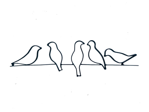 Birds on Wire Metal Wall Decor