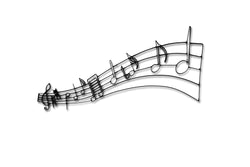 Front view of Music Notes metal wall art and decor