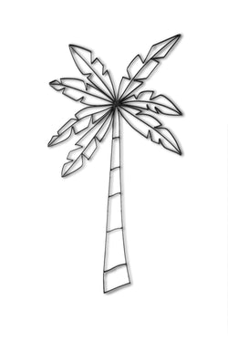Front view of Palm Tree metal wall art and decor