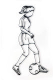 Women's Soccer Player Metal Wall Decor and Wall Art Sculpture