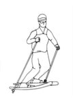 Front view of snow Skier metal wall art and decor
