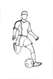 Front view of a male soccer player metal wall art and decor