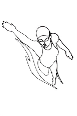 Front view of female freestyle Swimmer metal wall art and decor