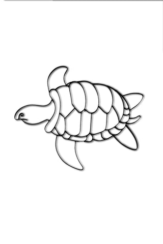 Front view of Sea Turtle metal wall art and decor