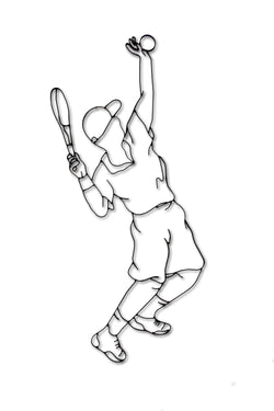 Front view of male Tennis player metal wall art and decor