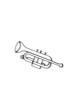 Metal trumpet wall decor