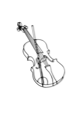 Metal violin wall decor and sculpture