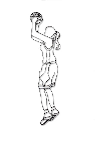 Front view of female basketball player metal wall art and decor