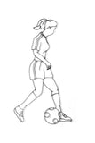 Front view of female Soccer player metal wall art and decor