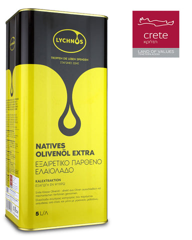 LYCHNOS CRETAN EXTRA VIRGIN OLIVE OIL 5Lt Tin