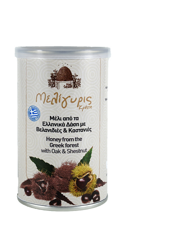 Image of Meligyris Greek Cretan Woodland Oak & Chestnut Honey 400gr Tin Jar
