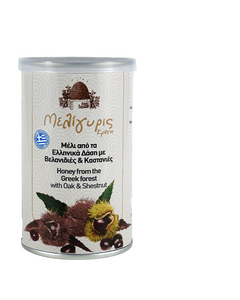 Meligyris Greek Cretan Woodland Oak & Chestnut Honey 400gr Tin Jar - GreekFoody