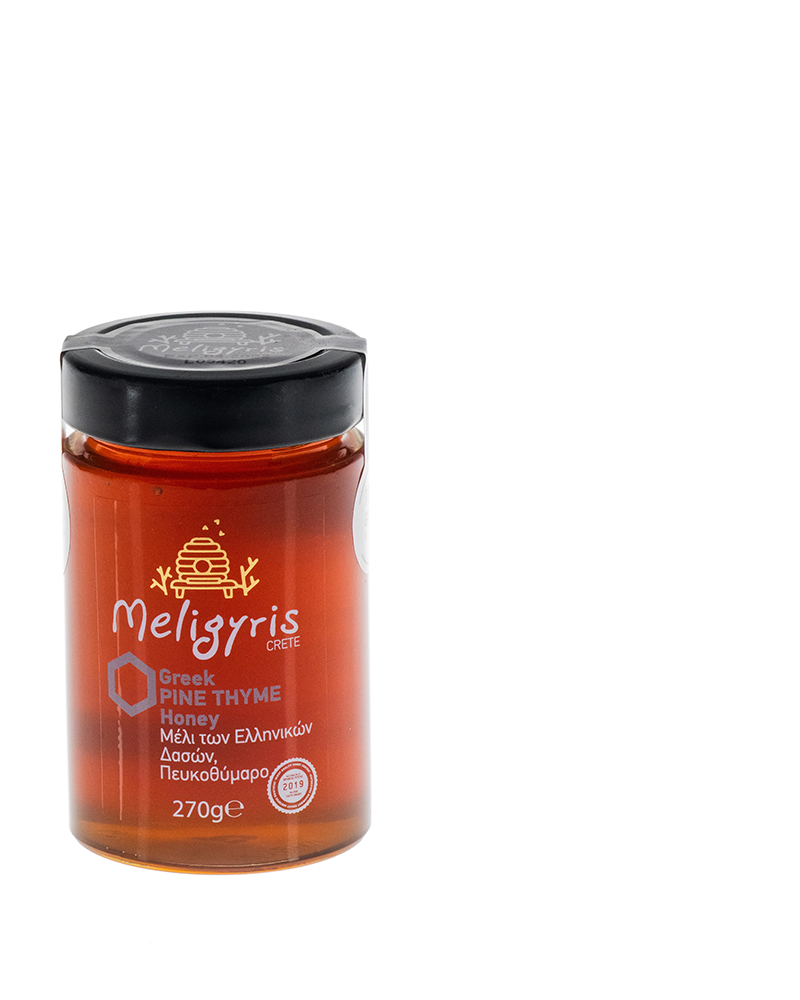 Meligyris Greek Cretan Pine Thyme Honey 270gr Glass Jar