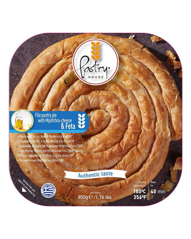 Pastry Hause Greek Spiral Filo Pastry Pie with Mizithra Cheese & Feta 850gr - GreekFoody