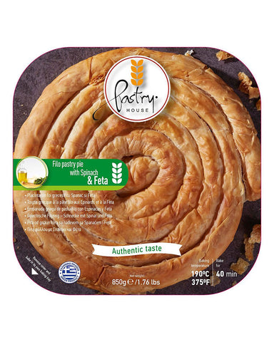 Pastry Hause Greek Spiral Filo Pastry Pie with Spinach & Feta 850gr - GreekFoody
