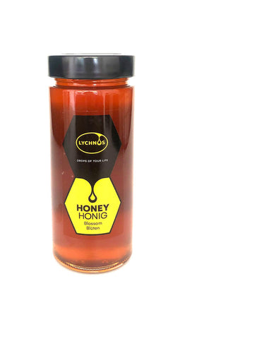 Lychnos Greek Cretan Lemon Orange Blossom Honey 400gr Glass Jar