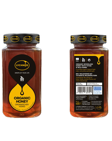 Image of Lychnos Greek Organic Wild Thyme Honey 400gr Glass Jar