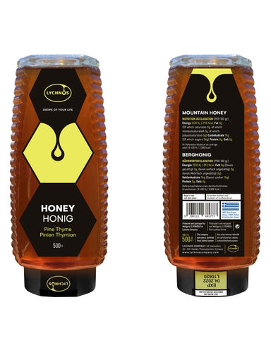 Lychnos Greek Pine Thyme Honey 500gr Squeeze Pet - GreekFoody