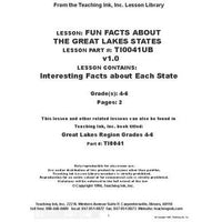 US Geography - Great Lakes Region  (Gr. 4-6)