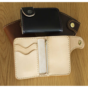 Handmade Veg Tan Leather Vertical Snap Wallet